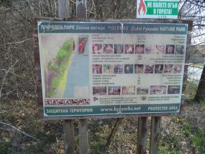 """Екопътека парк """"Златни пясъци"""" - указателна табела при началото на маршрута в гората край кв. Виница"""
