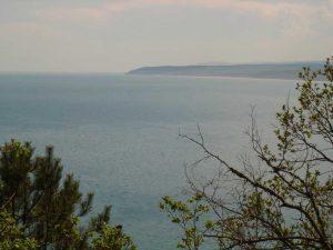 Изглед към морето от гората на плаж Папаз кулак