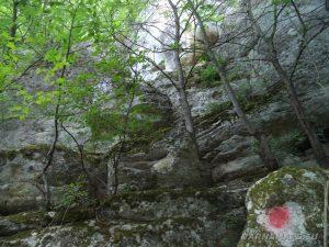 Мадарско плато - маркировка за Дядо Куртевата пещера