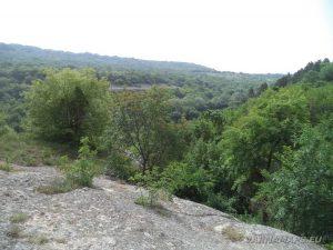 """Изглед от скалата над скален манастир """"Кара пещера"""""""