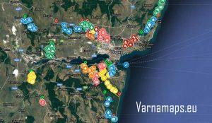 Обща карта на туристическите маршрути и екопътеки край Варна
