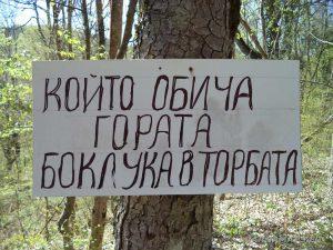 Интересна табела в гората край водопад Орлов камък