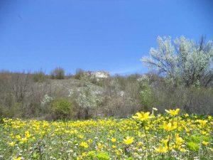 """Скални манастири """"Гюре Бахча"""" - скалите погледнати от изходната точка - поляна, покрита с красиви цветя"""