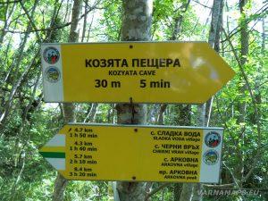 Местност Водениците - указателна табела към Козята пещера